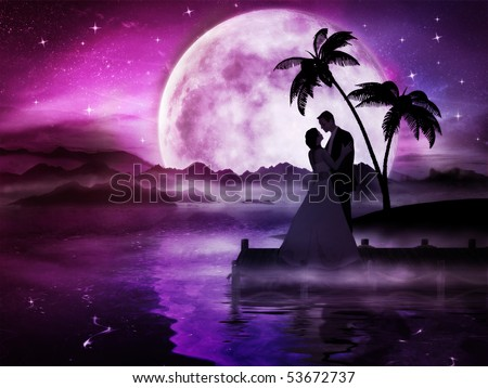 Romantic love couple in dreamland with big moon - stock photo