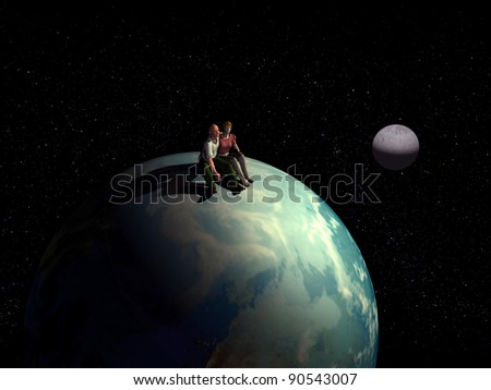 romantic Lovers, couple sitting on the earth globe and look at  the stars and the cosmos