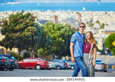 Romantic loving couple having a date in San Francisco, California, USA