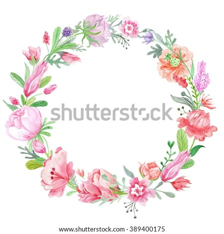 Romantic Meadow Floral Wreath   Spring creative round frame with wild red, pink and purple flowers for card design, wedding invitations - stock photo