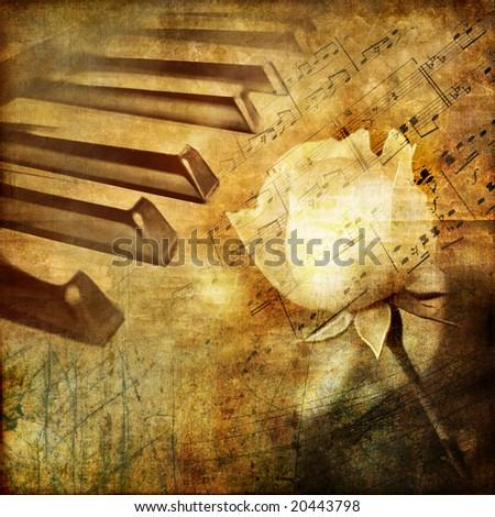 romantic melody - vintage background - stock photo