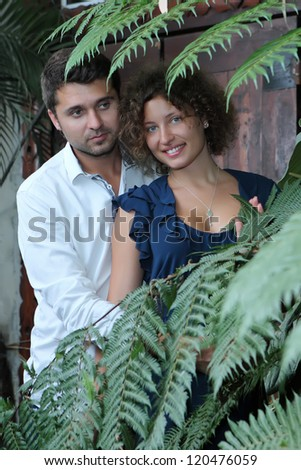 Romantic moments between a couple - stock photo
