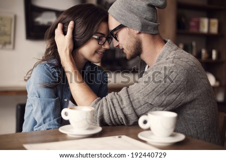 Romantic moments for young couple   - stock photo