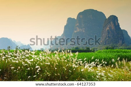 Romantic mountain scenery in China - stock photo
