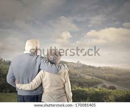 Romantic Old Couple - stock photo