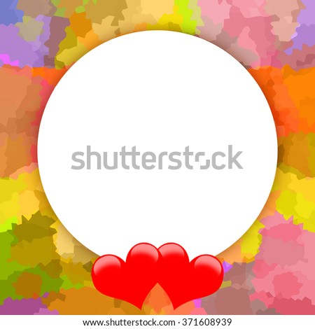 Romantic photo frame with red hearts or template background for greeting text - stock photo