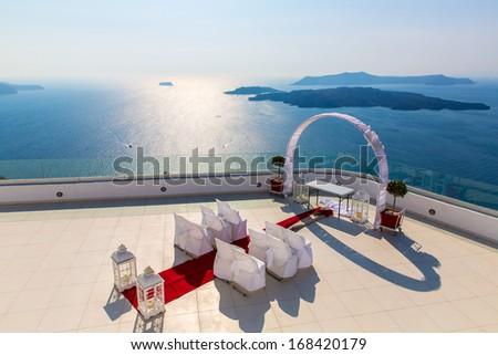Romantic place for wedding ceremony in Santorini island,Crete,Greece, Fira town - stock photo