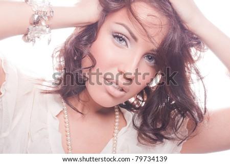 Romantic portrait of a gentle attractive woman - stock photo