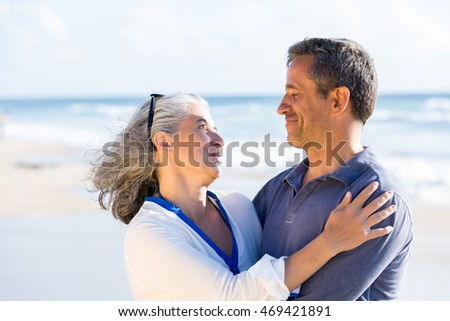 romantic portrait of mid aged couple in love