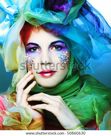 Romantic portrait of young lady with bright make-up. Doll style. - stock photo