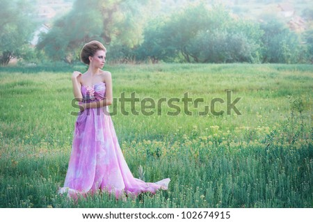Romantic portrait of young woman in airy pink dress on a countryside background - stock photo