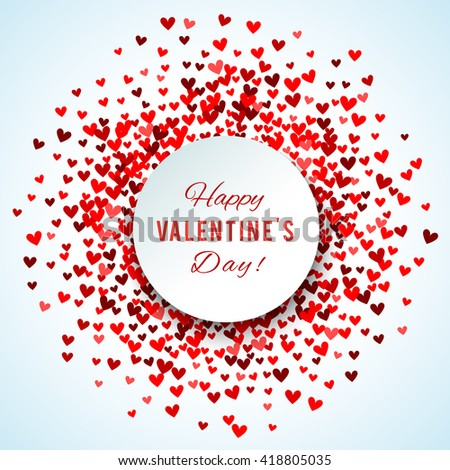 Romantic red heart background. illustration for holiday design. Many flying hearts on white background. For wedding card, valentine day greetings, lovely frame. - stock photo