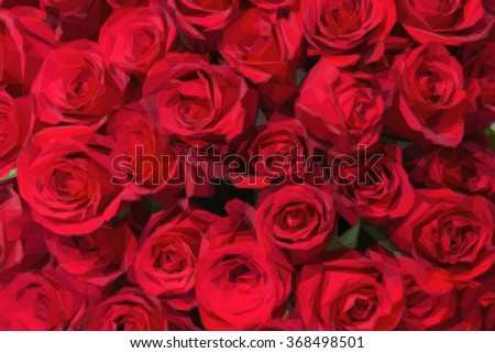 Romantic red roses background in low poly style.