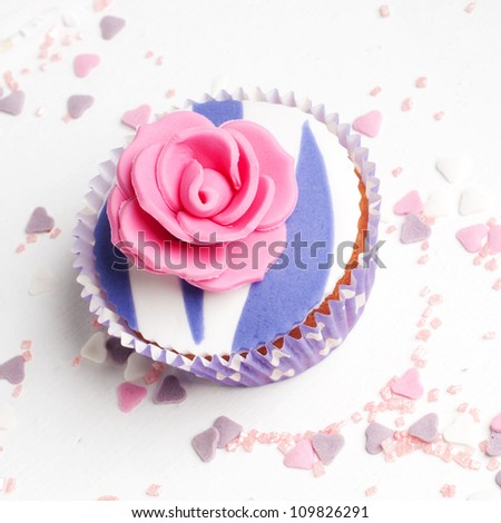 romantic rose wedding cup cake - stock photo