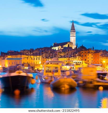 Romantic Rovinj is a town in Croatia situated on the north Adriatic Sea Located on the western coast of the Istrian peninsula, it is a popular tourist resort and an active fishing port. - stock photo