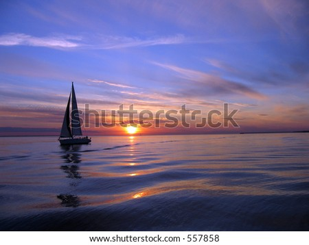 Romantic sail - stock photo