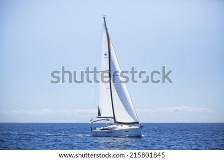 Romantic sailboat at sea cruise. Luxury yachts, sea voyages. - stock photo
