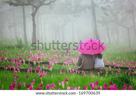 romantic Scene of love couples - stock photo