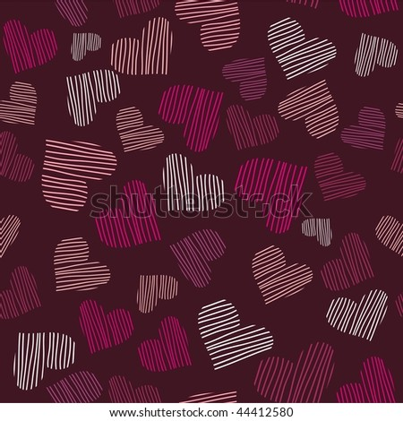 Romantic seamless pattern with hearts. Vector version is in my portfolio.