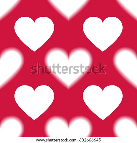 romantic seamless pattern with red hearts love and romantic symbols illustration for background