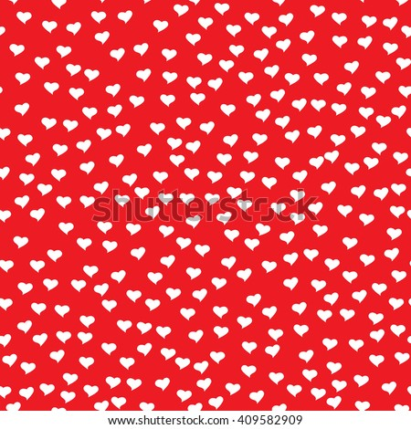 Romantic seamless pattern with tiny white hearts. Abstract repeating. Cute backdrop. Red background. Template for Valentine's, Mother's Day, wedding, scrapbook, surface textures.  - stock photo