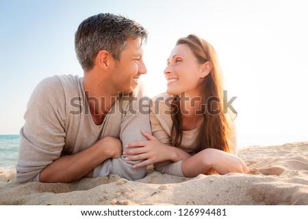romantic seaside couple - stock photo