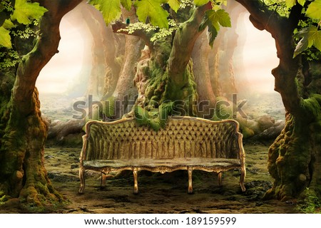 romantic seat in a deep forest - stock photo