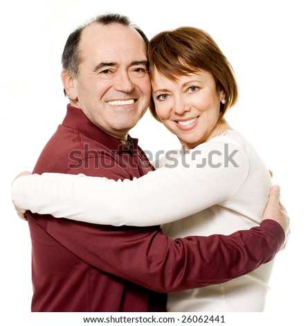 Romantic senior couple laughing - stock photo