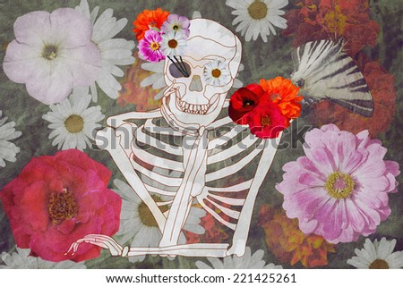 romantic skull on a floral background - stock photo