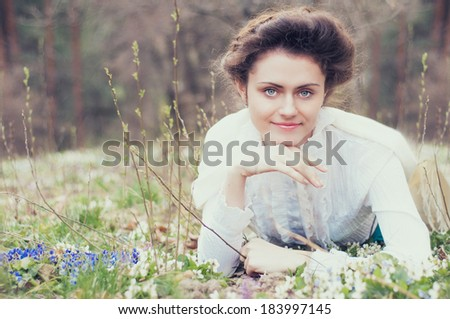 Romantic slavonic caucasian woman in vintage outfit. Retro style.  - stock photo