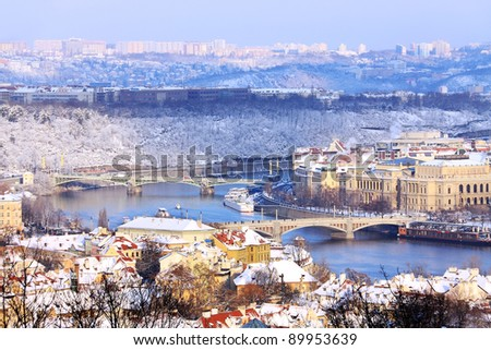 Romantic Snowy Prague City in the sunny Day, Czech Republic - stock photo