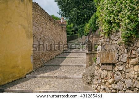 Romantic stairway to the castle, Soave Verona Italy - stock photo
