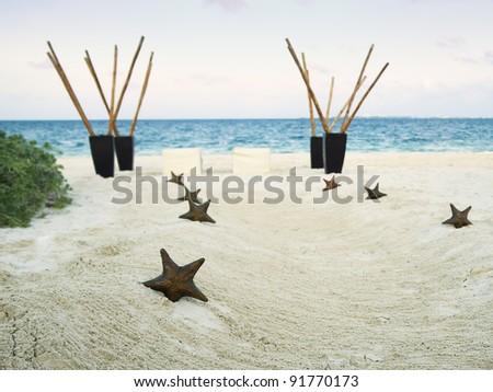 Romantic stars wedding pathway to the beach - stock photo