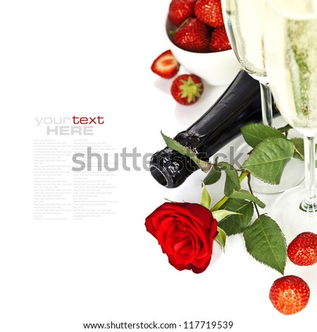 Romantic still life with champagne, strawberry and beautiful red roses over white (with easy removable text) - stock photo