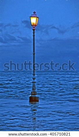 romantic streetlamp - illustration based on own photo image - stock photo
