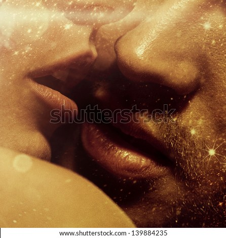 Romantic style photo of young lover's lips - stock photo
