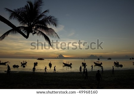 Romantic sunrise on the beach, Ko Tao Island, Thailand.