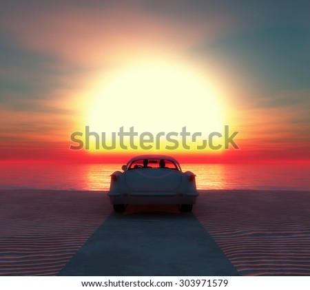 romantic sunset and car on the beach with a couple - stock photo