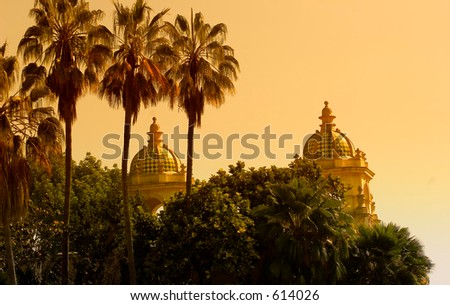 Romantic sunset at Balboa Park, San Diego California USA (exclusive at shutterstock) - stock photo