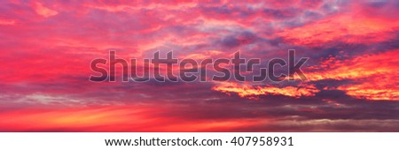 Romantic sunset, colored sky, panorama wallpaper
