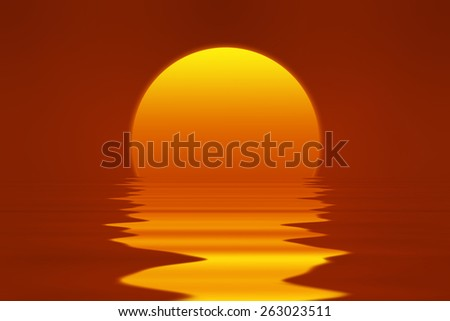 romantic sunset illustration with red clear sky, bright yellow and orange sun, reflection in water - stock photo