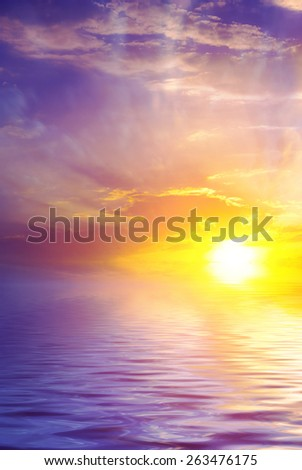 Romantic sunset on the sea. Calm sea and sunrise. natural composition - stock photo