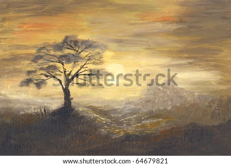 Romantic sunset. Picture of hand-painted.