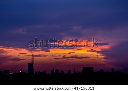 Romantic sunset sky with fluffy clouds and beautiful heavy weather landscape for use as background images and illustrations. - stock photo