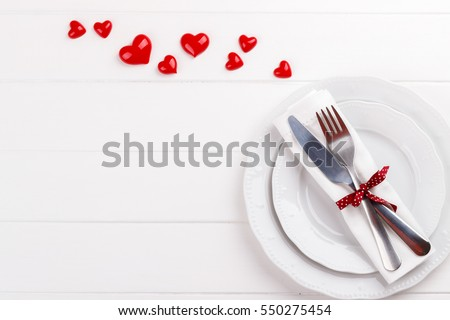 Romantic table setting on white wooden table.Valentineu0027s day card template  sc 1 st  Shutterstock & Romantic Table Setting On White Wooden Stock Photo (Edit Now ...