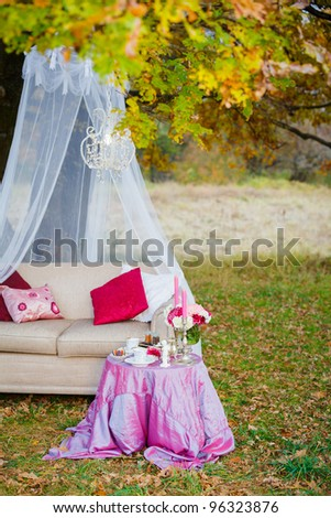 Romantic tea party in the woods. Served table, couch, canopy - stock photo