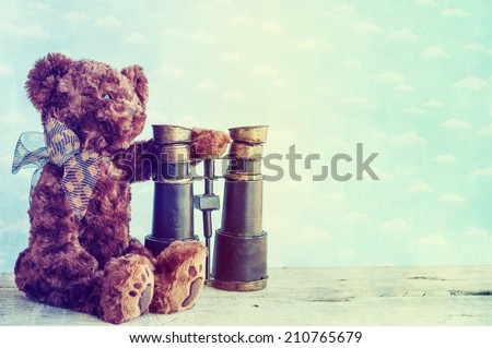 romantic teddy bear - stock photo