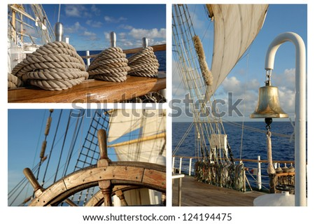 Romantic Travel, Sailing Frigate, Tall ships - stock photo