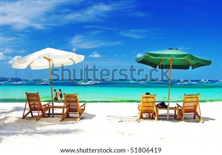 romantic tropical holidays - stock photo