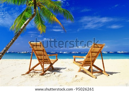 romantic  tropical holidays - stock photo